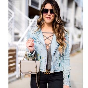 NWT BLANKNYC Sea of Flowers Denim Studded Jacket
